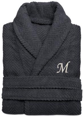 Linum Home Textiles Herringbone Weave Gray Bathrobe, Large/XLarge, White Letters, H