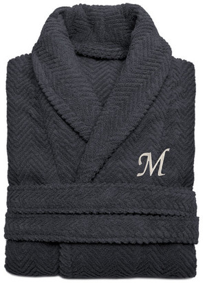 Linum Home Textiles Herringbone Weave Gray Bathrobe, Large/XLarge, White Letters, M