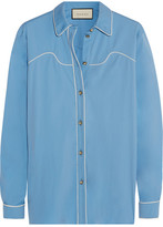 Gucci Silk-trimmed Cotton-blend Poplin Shirt - Light blue