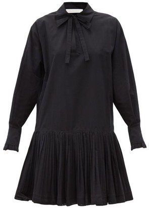 See by Chloe Dropped-waist Cotton Shirt Dress - Black