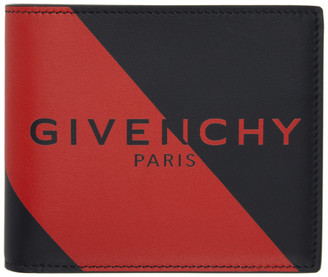 Givenchy Black and Red Logo Bifold Wallet