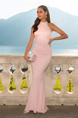 Quiz Pink Lace Fishtail Maxi Dress