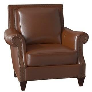 "Bradington-Young Bates 37"" W Club Chair Body Fabric: Applause Coconut Husk, Leg Color: Mahogany, Nailhead Detail: French Natural 7/16 Inch, Cushion Fi"