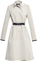 Martin Grant Cotton Silk Trench Coat with Leather Trim