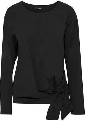 Theory Serah Knotted Stretch Cotton-poplin Blouse