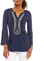 Peter Nygard Petite Bell Sleeve Embroidered Blouse