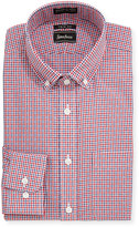 Neiman Marcus Trim-Fit Non-Iron Plaid Sport Shirt, Red/Blue