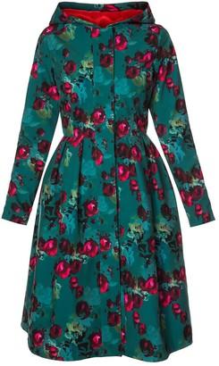 Rainsisters Emerald Green Waterproof Coat With Roses: Rosalie