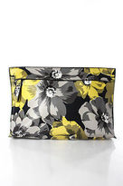 Who What Wear Gray Yellow White Floral Print Zipper Front Clutch NEW