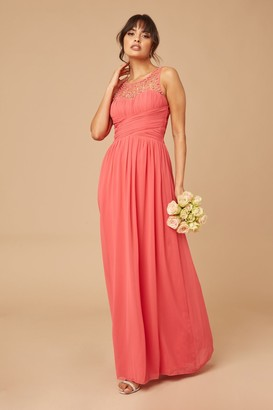 Little Mistress Grace Coral Embellished Neck Maxi Dress