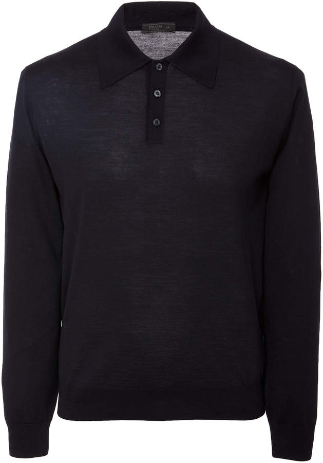 Prada Knit Wool Polo Shirt