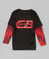 CB Sports Black Layered Logo Tee - Boys