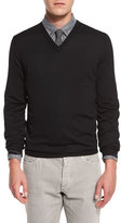 Brunello Cucinelli Fine-Gauge V-Neck Sweater, Black