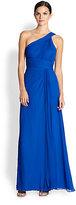 Aidan Mattox Single-Shoulder Silk Grecian Gown