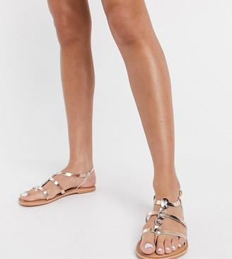 New Look wide fit leather strap sandals in rose gold