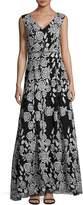 Karl Lagerfeld Paris Women's Rose Floor-Length Dress - Black-ivory, Size 16