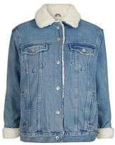 Moto oversized western denim borg jacket