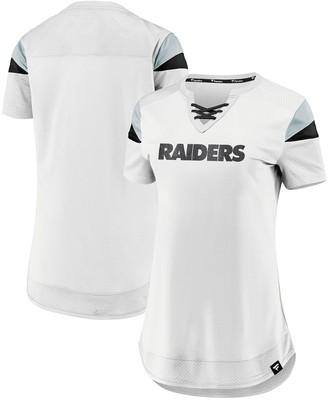 Women's NFL Pro Line by Fanatics Branded White Las Vegas Raiders Draft Me Lace-Up T-Shirt