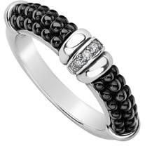 Lagos Black Caviar Diamond Stack Ring