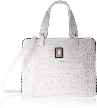 Luana Italy Women's Monica Medium Tote White Crocodile Leather Handbag