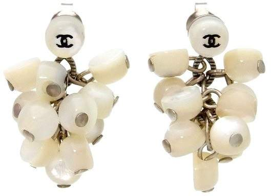 Chanel CC Logo Plastic Stones Dangle Stud Earrings