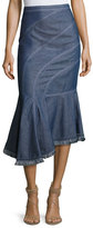 Andrew Gn Asymmetric Denim Midi Skirt, Blue