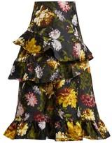 Preen by Thornton Bregazzi Esta Ruffled Floral-jacquard Skirt - Womens - Black Multi