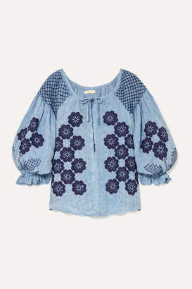 Innika Choo Oliver Daily Embroidered Linen-chambray Top - Blue