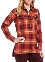 Pendleton Cotton Flannel Long Sleeve Half Zip Burnt Brick Plaid Tunic