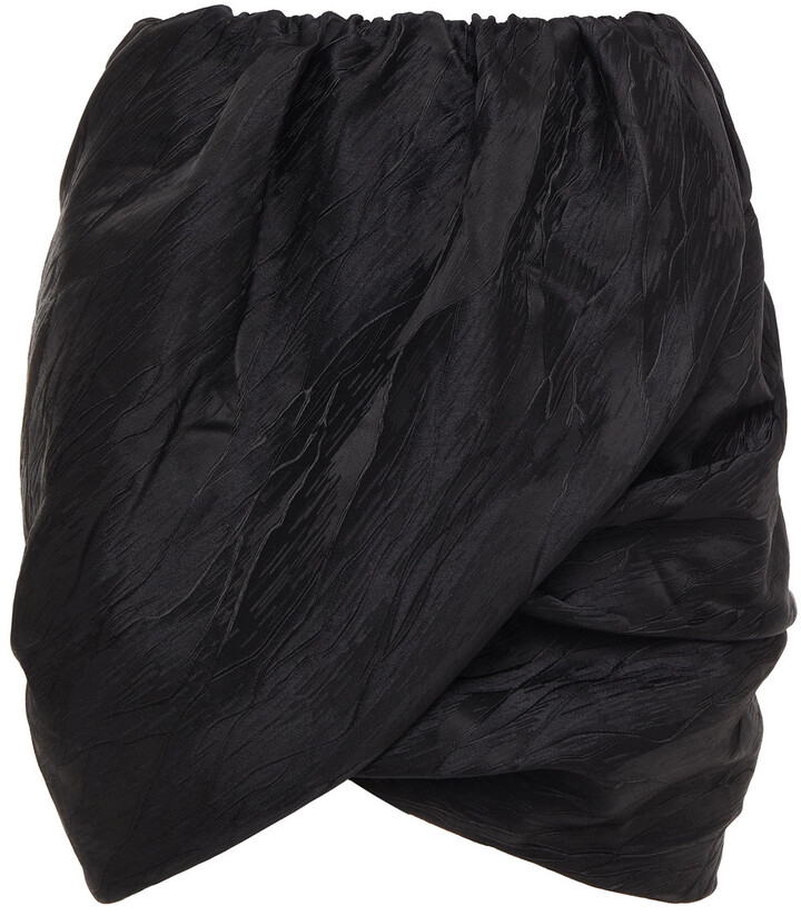 Thumbnail for your product : Ganni Wrap-effect Gathered Satin-jacquard Mini Skirt