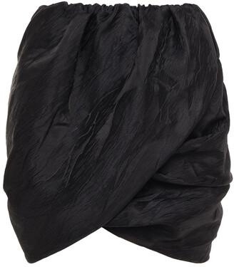 Ganni Wrap-effect Gathered Satin-jacquard Mini Skirt