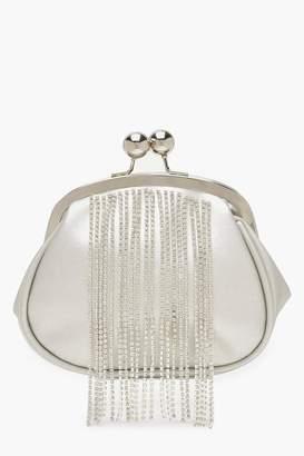 boohoo Diamante Fringe Push Lock Clutch Bag