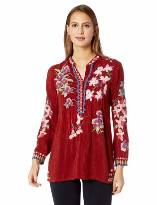 Johnny Was Women's 3/4 Sleeve Embroidered Mandarin Collar Blouse