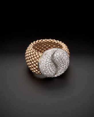 Italian Gold 14K Rose Gold 1.00 Ct. Tw. Diamond Mesh Ring