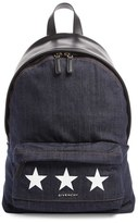 Givenchy Small Star Print Denim & Leather Backpack - Blue