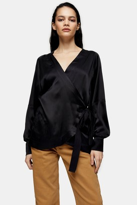 Topshop Womens **Black Silk Wrap Blouse By Black