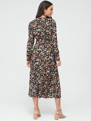 Warehouse Livia Floral Midi Belted Dress - Multi