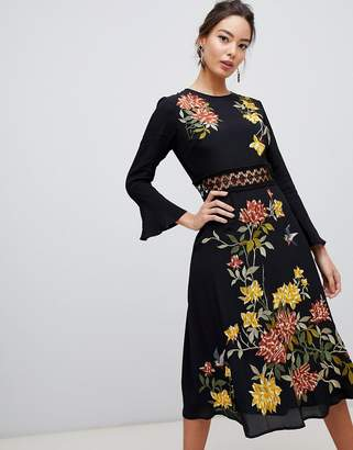 Asos Design DESIGN embroidered midi dress with lace inserts and floral embroidery-Black