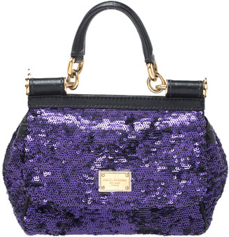 Dolce & Gabbana Purple/Black Sequin and Leather Small Miss Sicily Top Handle Bag