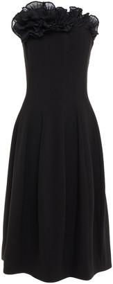 Halston Strapless Ruffled Organza-trimmed Shirred Crepe Midi Dress