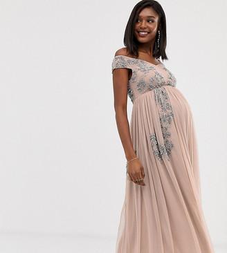 Maya Maternity square neck bardot floral embellished midaxi dress in pink