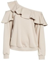 Lush Women's One-Shoulder Ruffle Sweatshirt