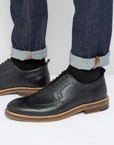 Asos Brogue Shoes in Black Scotchgrain Leather With Heavy Sole