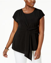 NY Collection Plus Size Faux-Wrap Top