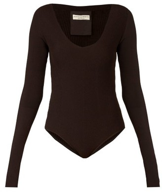 Bottega Veneta Long-sleeved Ribbed-knit Jersey Bodysuit - Dark Brown