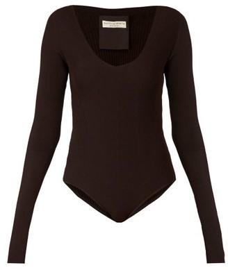Bottega Veneta Long-sleeved Ribbed-knit Jersey Bodysuit - Womens - Dark Brown