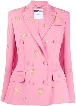 Moschino Floral-Embroidered Double-Breasted Blazer