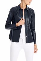 Ecru Leather Shirt Jacket