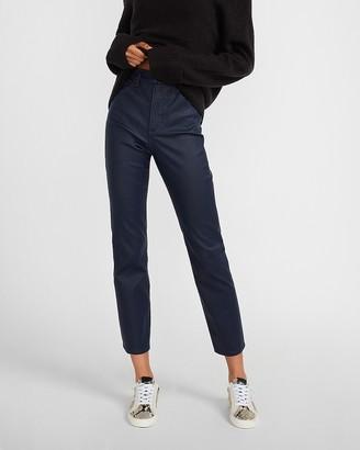 Express Super High Waisted Blue Coated Slim Jeans