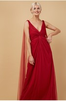Thumbnail for your product : Little Mistress Bridesmaid Eden Red Knot-Front Maxi Dress